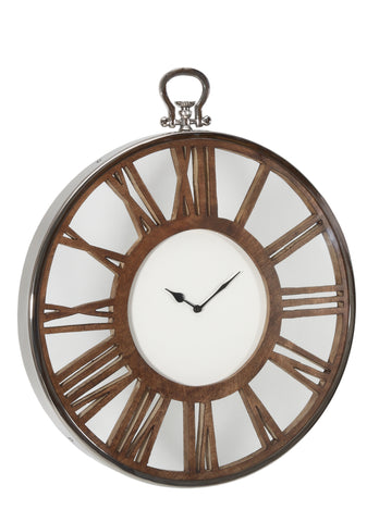 tick Mango clock round wood carved with Stainless