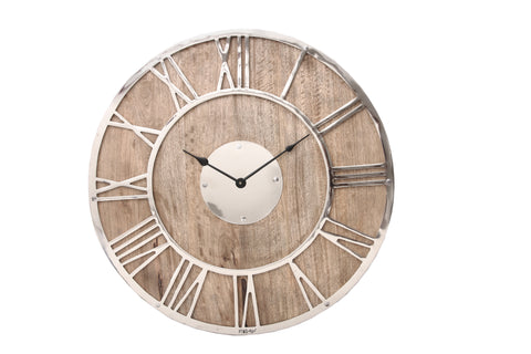 tick Mango clock steel with wooden back round L
