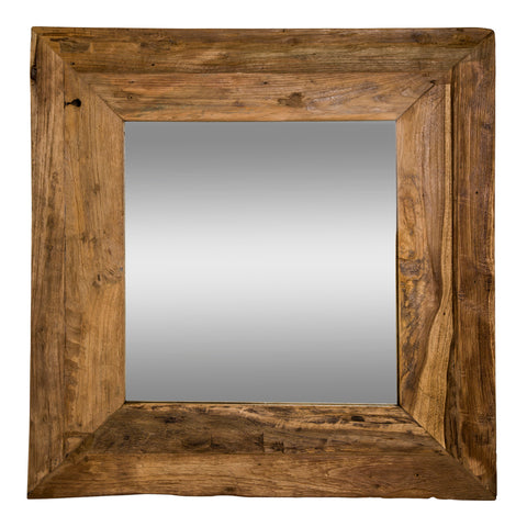 old teak mirror square