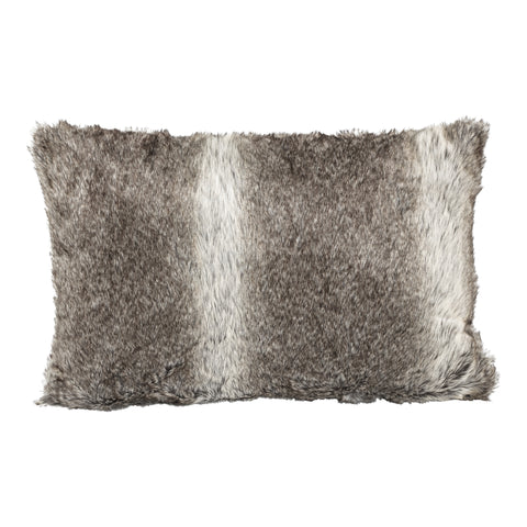 Softly brown fake fur cushion with fill square L