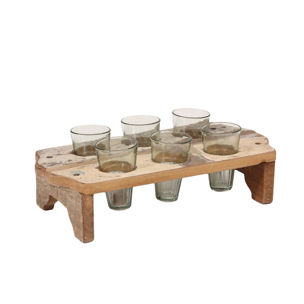 Butler wood cream tray with Glass holderS