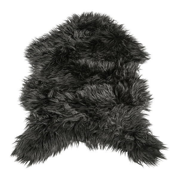 Faux black fur sheepshape carpet