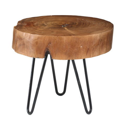 Acacia wood table small round with Iron leg s