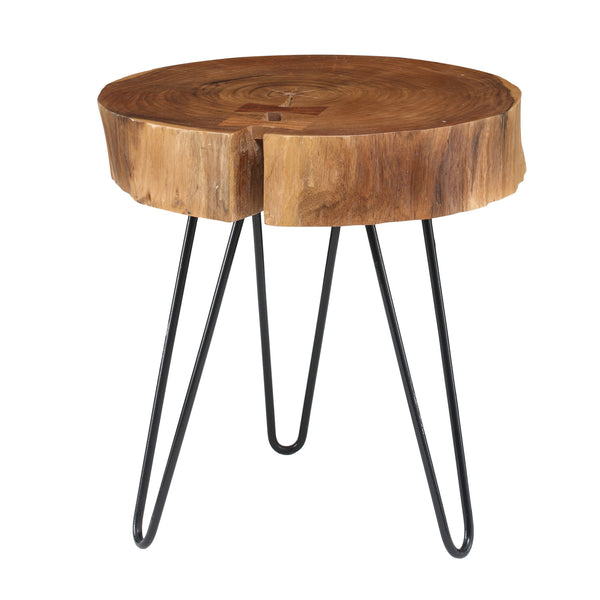 Acacia wood table small round with Iron leg L