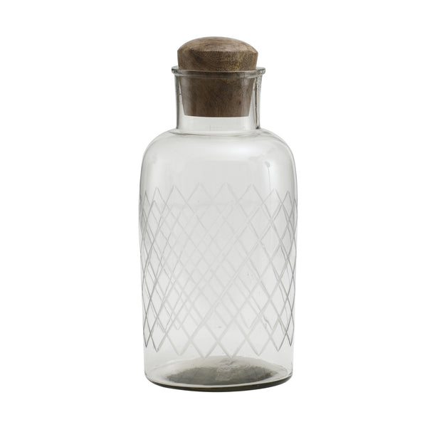 Dalton Glass bottle with wooden lid round
