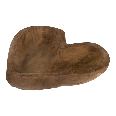 Mirre teak wood natural heart bowl L