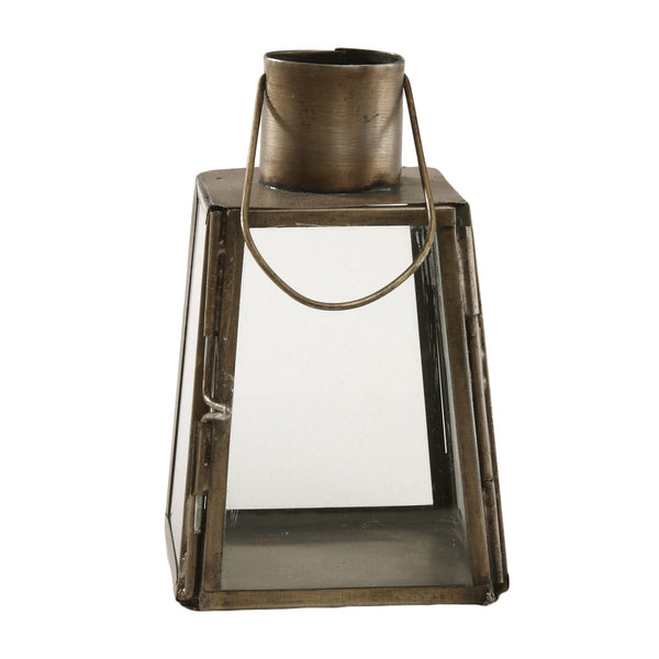 Chuck brass Iron mini lantern rectangle open to