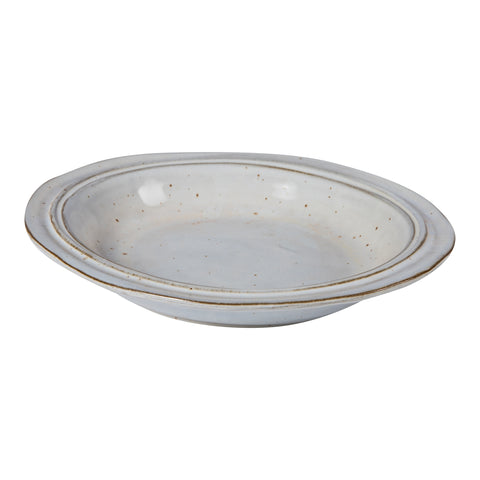 Luz white Glazed ceramic soup plate