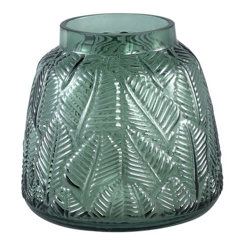 Cary dark green Glass vase leaves round s