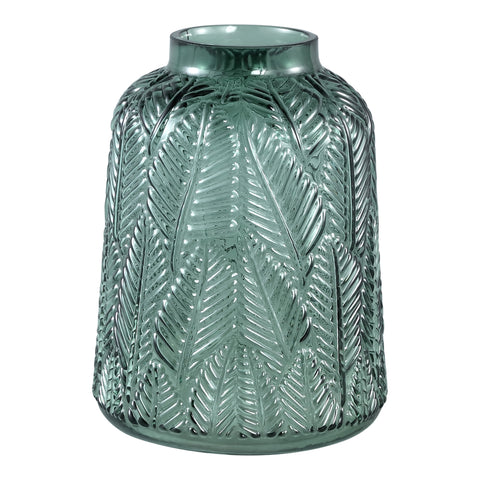 Cary dark green Glass vase leaves round L