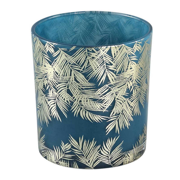 Marsh blue Glass tealight round gold palm s