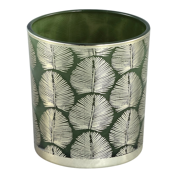 Marsh green Glass tealight round gold leaves s