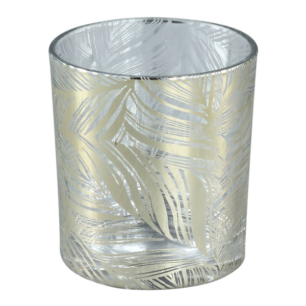Marsh clear Glass tealight gold feather Leave s