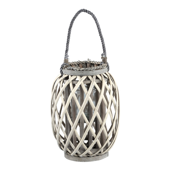 Kady natural wooden lantern straight round low s