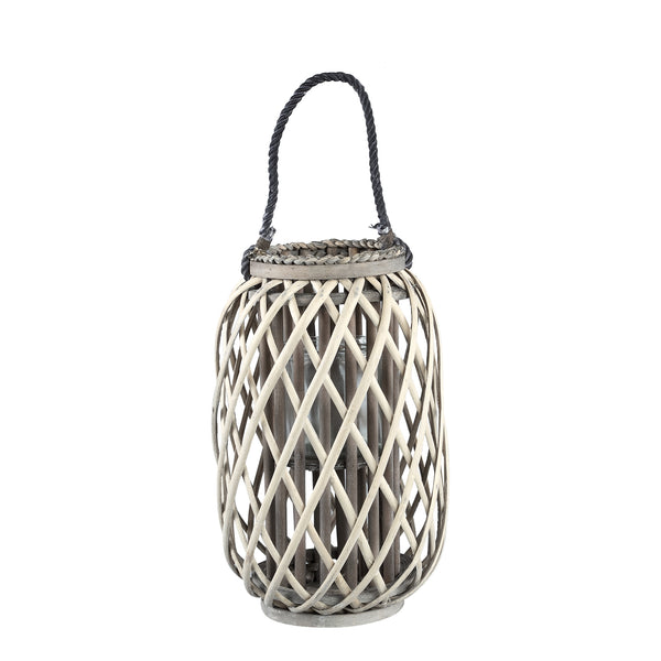 Kady natural wooden lantern straight round low m