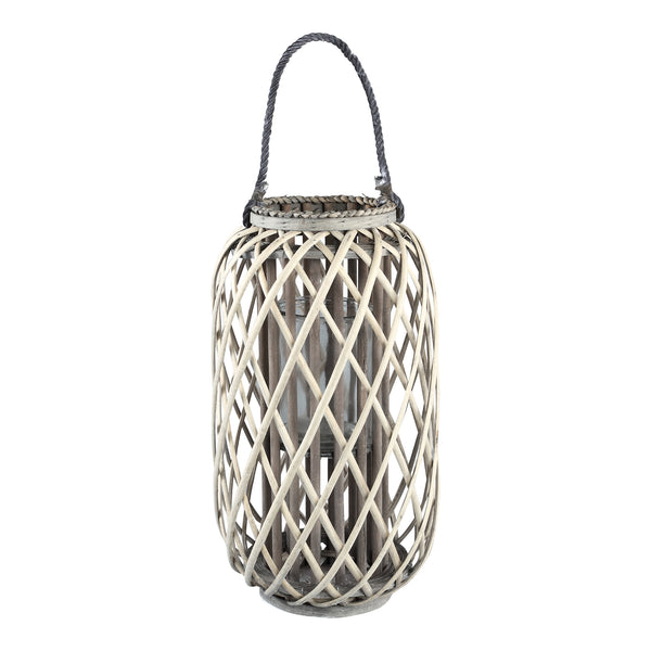 Kady natural wooden lantern straight round low L