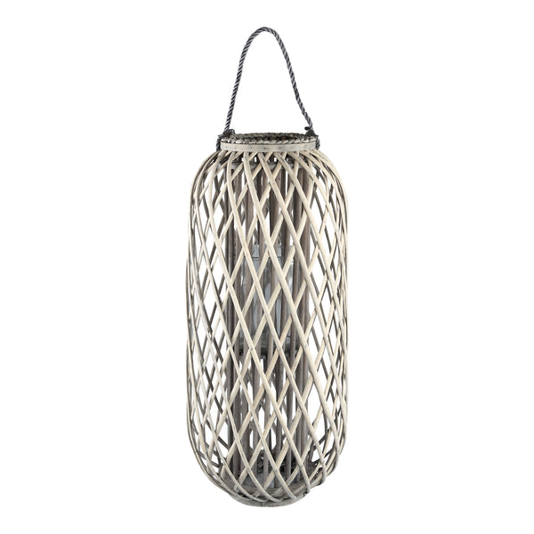 Kady natural wooden lantern straight round high s