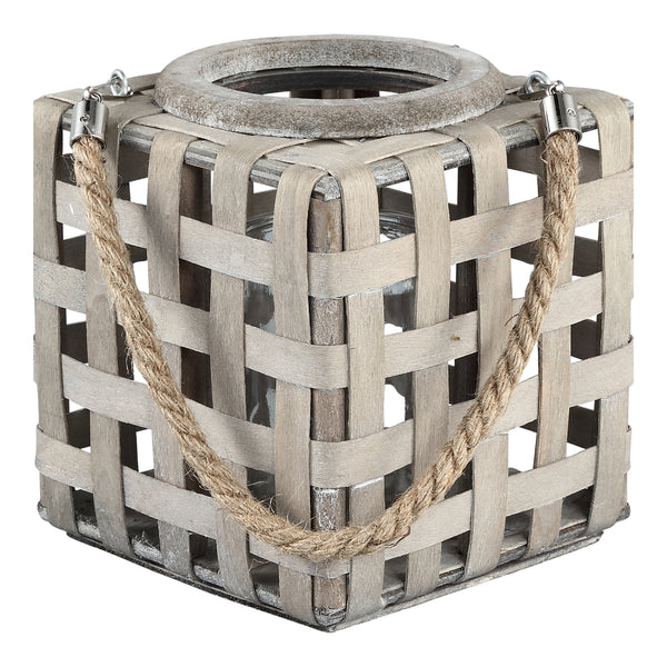 Jett grey wooden lantern square rope handle low