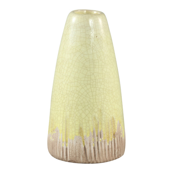 Flamed yellow ceramic bottle small border s