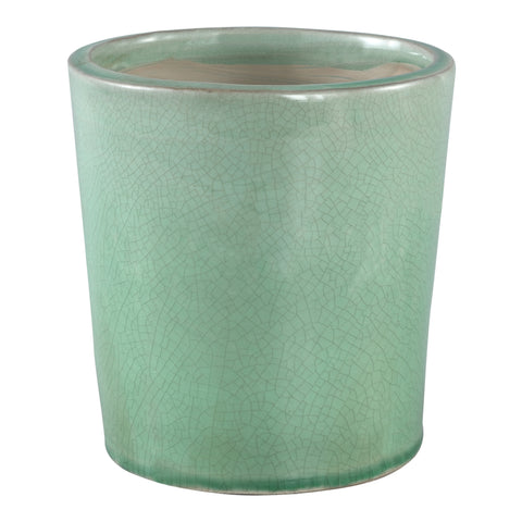 Flamed green ceramic pot round L