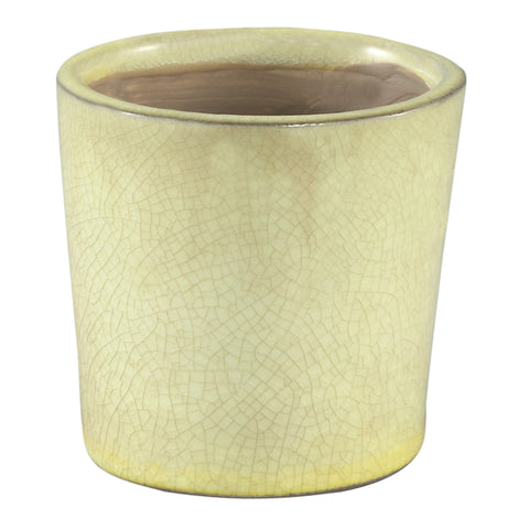 Flamed yellow ceramic pot round s