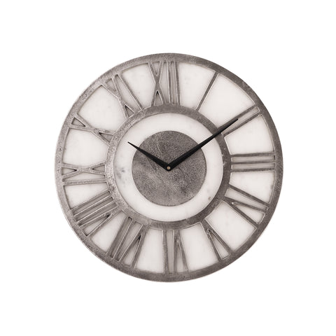 North clock white round Marble aluminium rough
