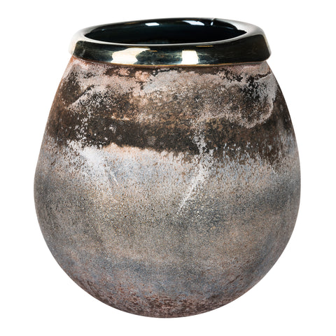 Mersh smoky black round Glass vase m