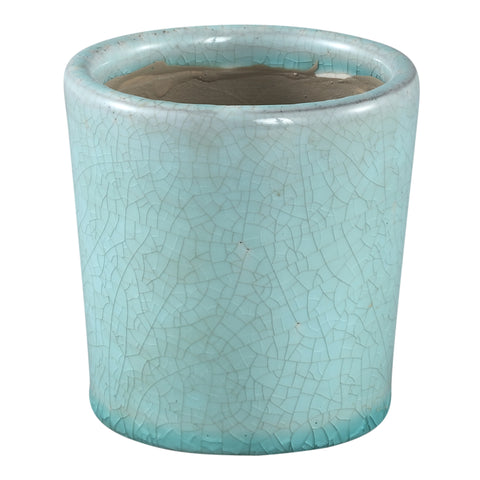Flamed turquoise ceramic pot round s