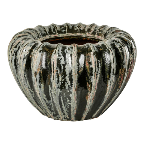 Faves dark green ceramic pot ribbed wide m