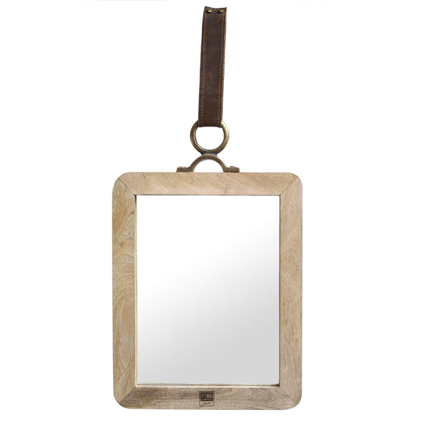 Morris natural Mango wood mirror with leather m