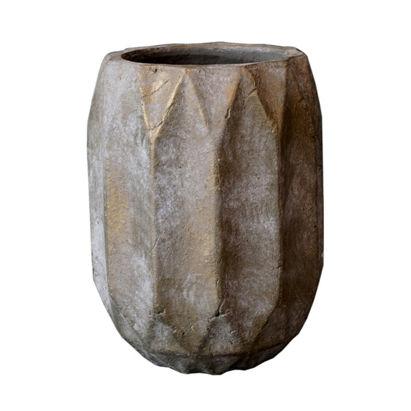 Lave taupe Cement Block pattern pot round L