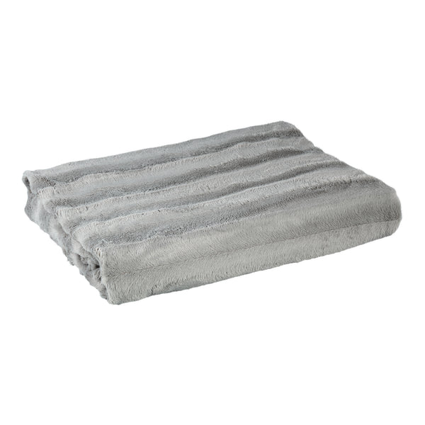 Denzy grey Faux fur blanket line pattern L