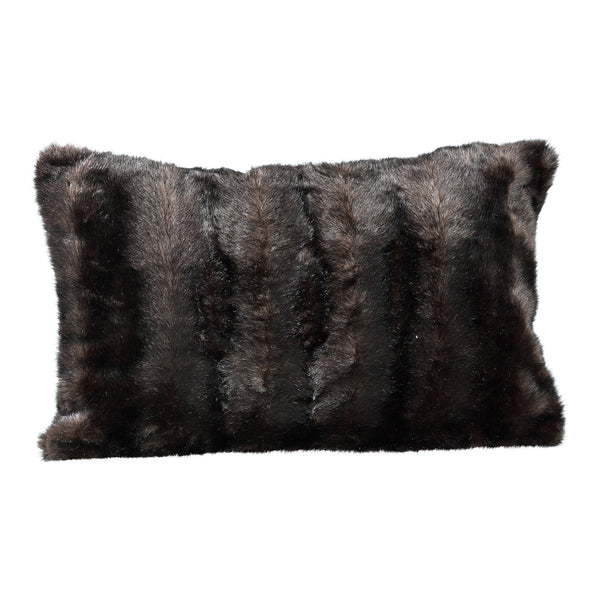Noud dark brown Faux fur cushion rectangle