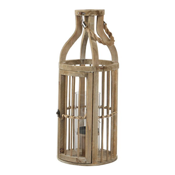 Denver wood lantern with cilinder Glass