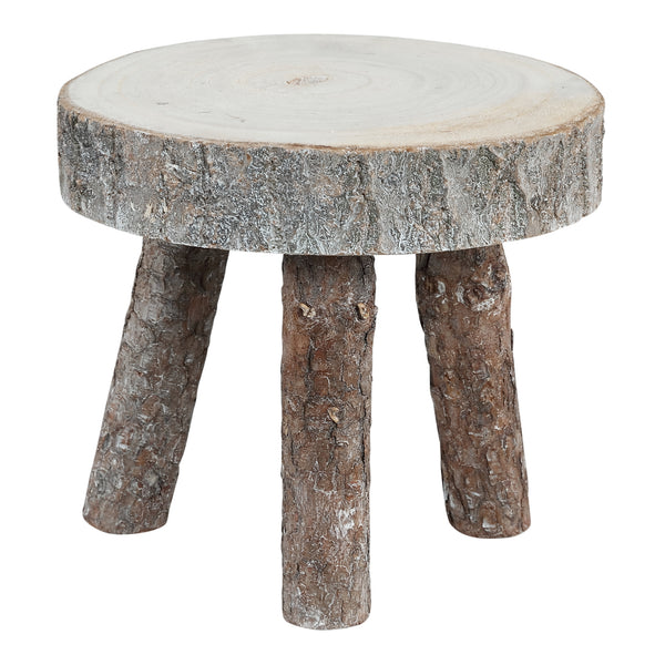 Boaz natural wooden stool round three legs s