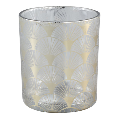 Kicky clear Glass tealight gold pattern round m