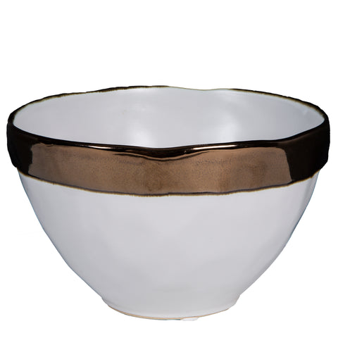 Farey white ceramic bowl gold rim round m