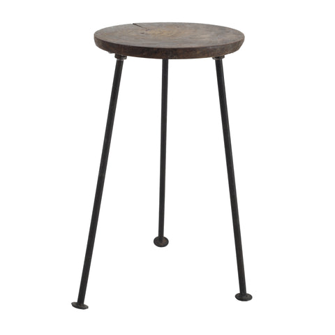 Chapati wood plant table round Iron base L