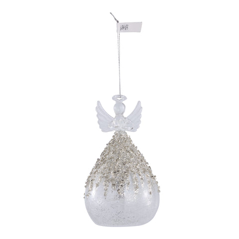 Christmas Lada clear Glass angel bulb with beads L