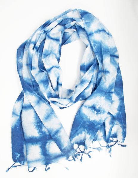 "Shibori Scarf with ""more blue"""