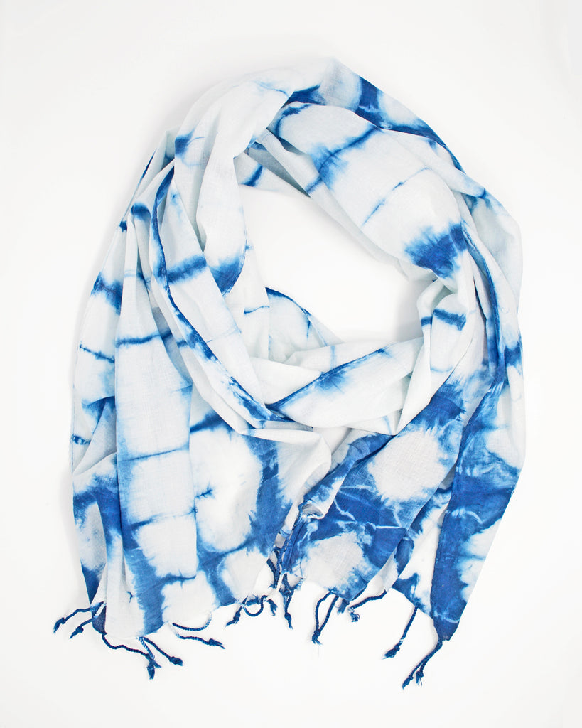 "Shibori Scarf with ""less blue"""