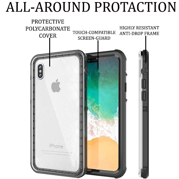 Shockproof/Waterproof Black Cover Case Cover for Apple iPhone XS/X