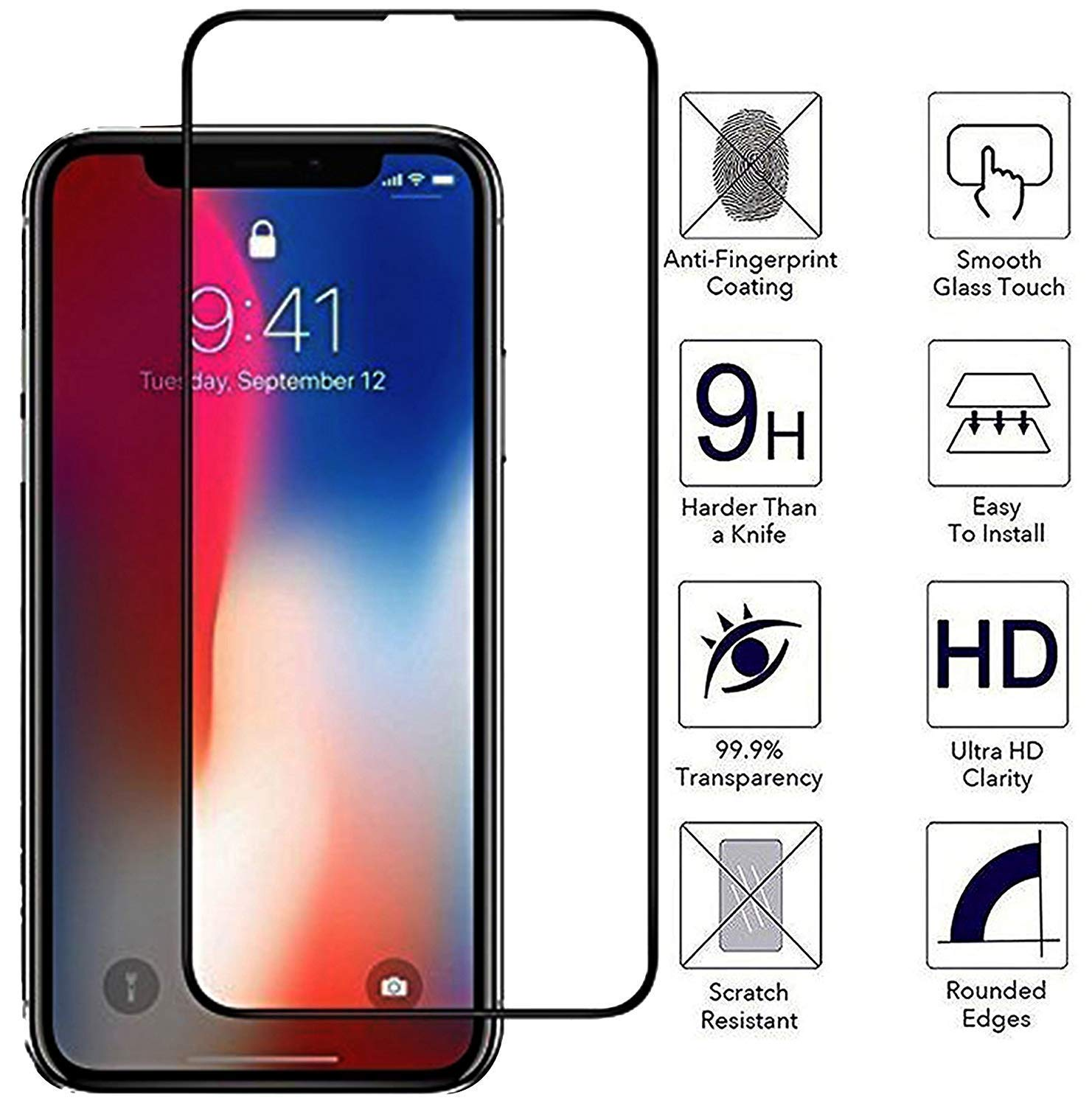 Tempered Screen Guard for iPhone (XS Max, XS, X, 7 Plus, 8 Plus, 8, 7)