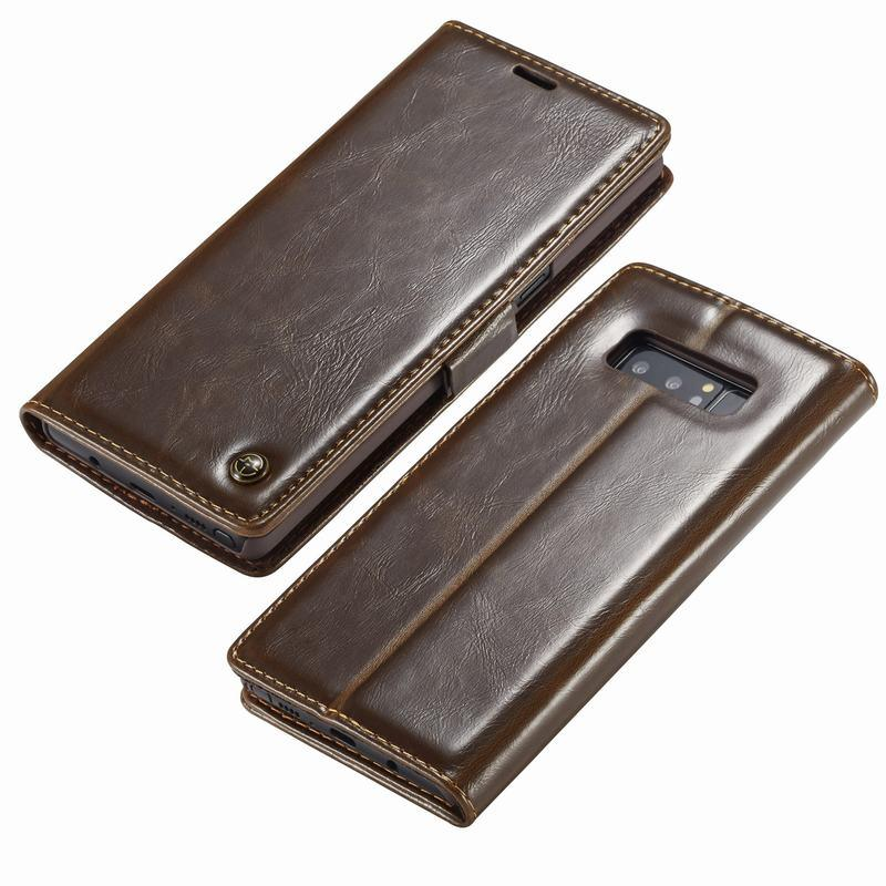 Galaxy S9Plus Flip Folio Leather Credit Card Holder Cover Case - Brown