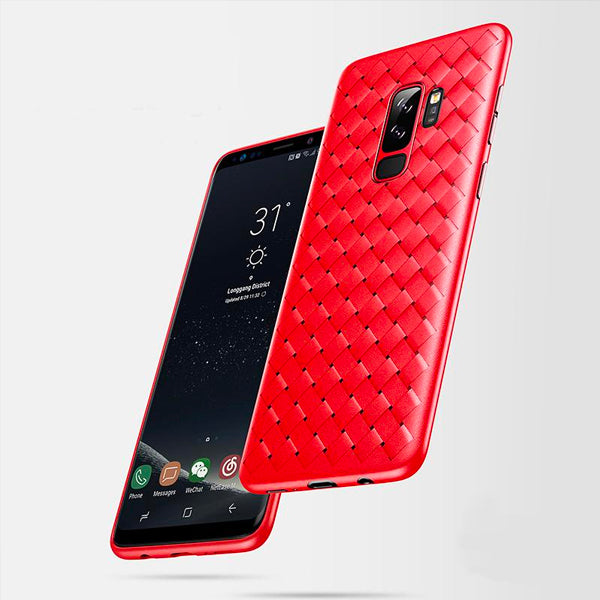 Galaxy S9 Plus Woven Design Case- Red