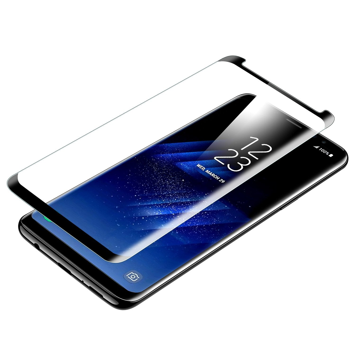 Galaxy J8 Mirror Shine Flip Case (Premium) - Black/ Blue