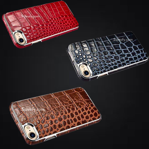 iPhone 8 Electroplating Alligator Embossed Genuin Back Case Cover