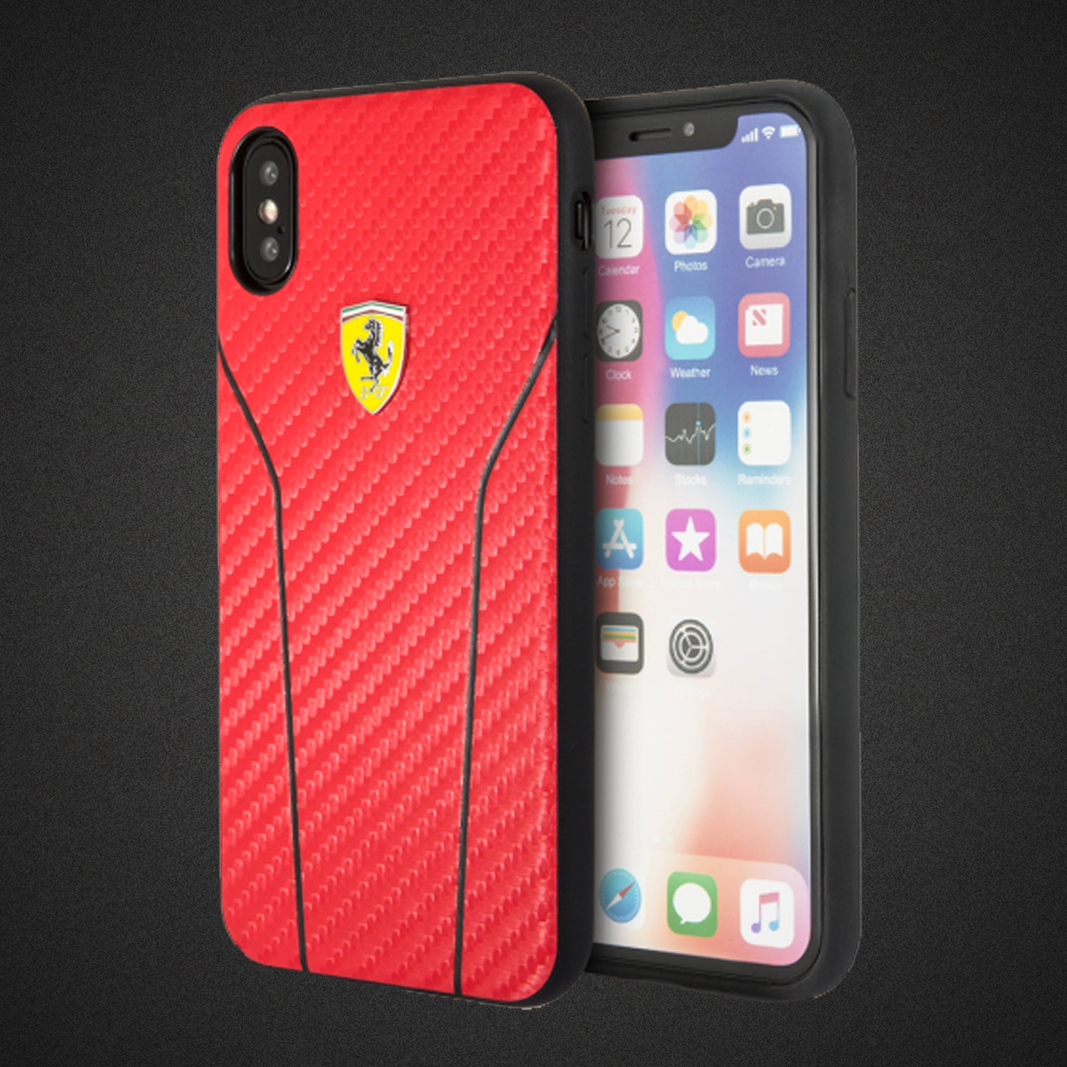 Original Ferrari Case Cover for iPhone XS/X Textured Back - Red (Retail Packaging with Verification Code)
