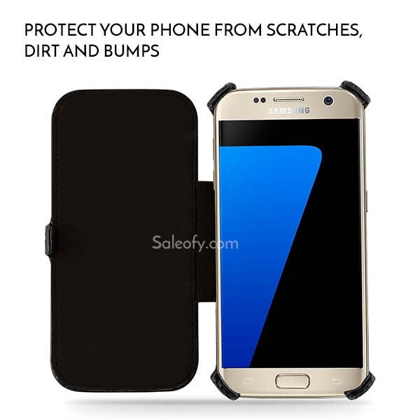 S7 Stand Function Flip Folio Cover Case with Credit Card Slot - Black