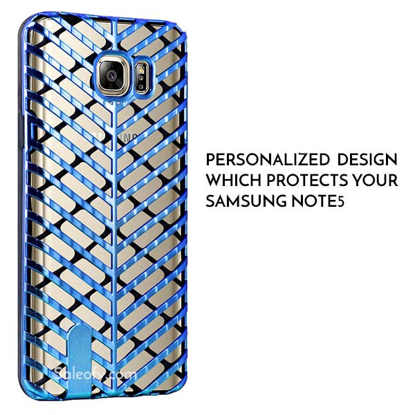 Samsung Note 5 Blue and Black Back Case Cover made with TPU + PC - Hybrid Design